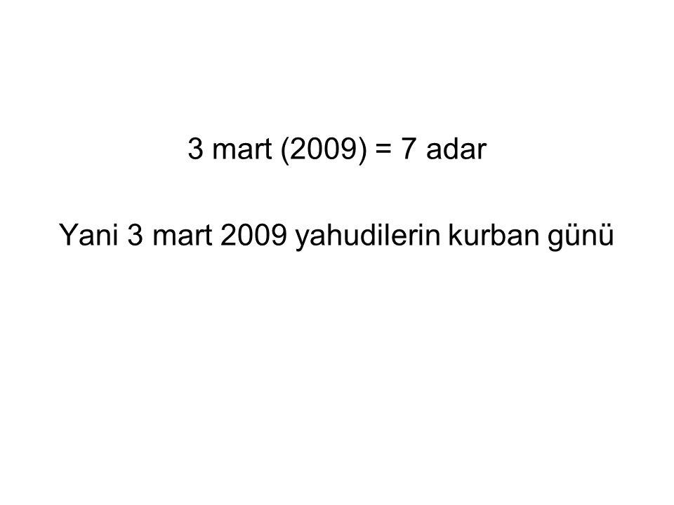 Yani 3 mart 2009 yahudilerin kurban günü