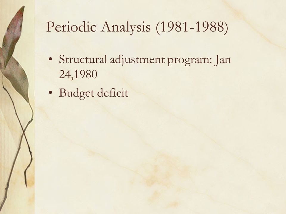 Periodic Analysis (1981-1988) Structural adjustment program: Jan 24,1980 Budget deficit