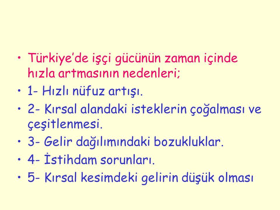 Türkiye'de işçi gücünün zaman içinde hızla artmasının nedenleri;