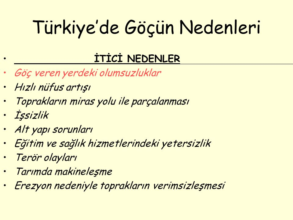 Türkiye'de Göçün Nedenleri