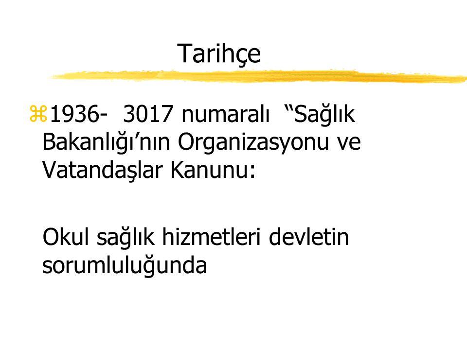 Tarihçe 1936- 3017 numaralı Sağlık Bakanlığı'nın Organizasyonu ve Vatandaşlar Kanunu: Okul sağlık hizmetleri devletin sorumluluğunda.