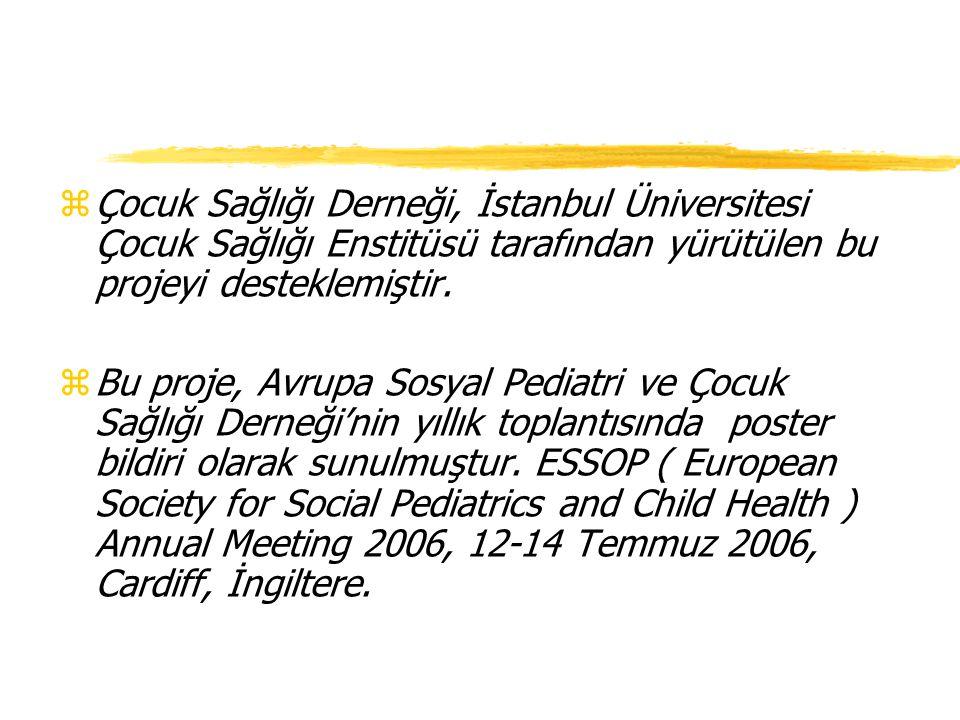 Çocuk Sağlığı Derneği, İstanbul Üniversitesi Çocuk Sağlığı Enstitüsü tarafından yürütülen bu projeyi desteklemiştir.