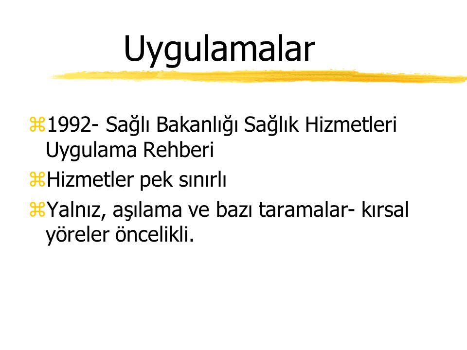 Uygulamalar 1992- Sağlı Bakanlığı Sağlık Hizmetleri Uygulama Rehberi