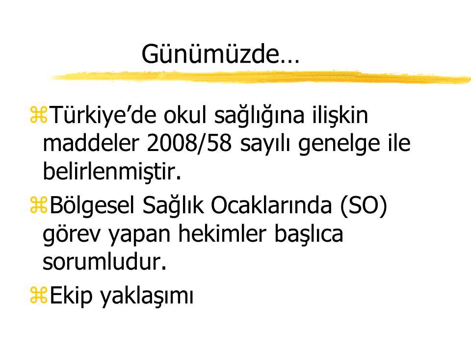 Günümüzde… Türkiye'de okul sağlığına ilişkin maddeler 2008/58 sayılı genelge ile belirlenmiştir.