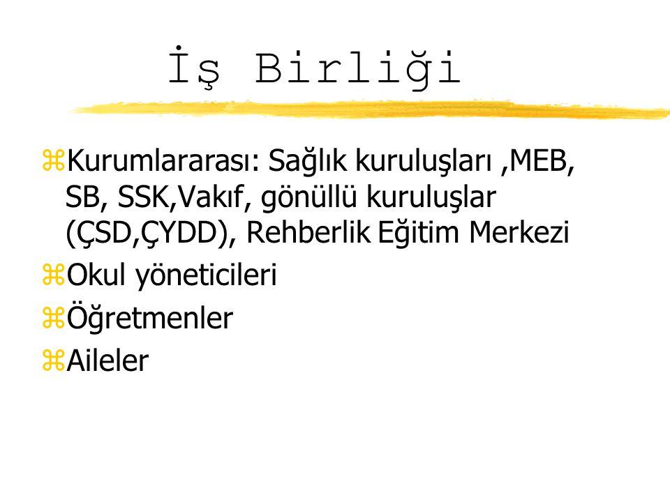 İş Birliği Kurumlararası: Sağlık kuruluşları ,MEB, SB, SSK,Vakıf, gönüllü kuruluşlar (ÇSD,ÇYDD), Rehberlik Eğitim Merkezi.