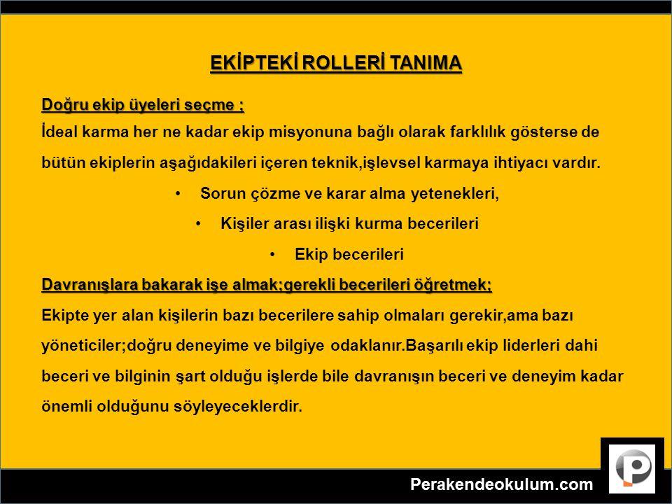 EKİPTEKİ ROLLERİ TANIMA