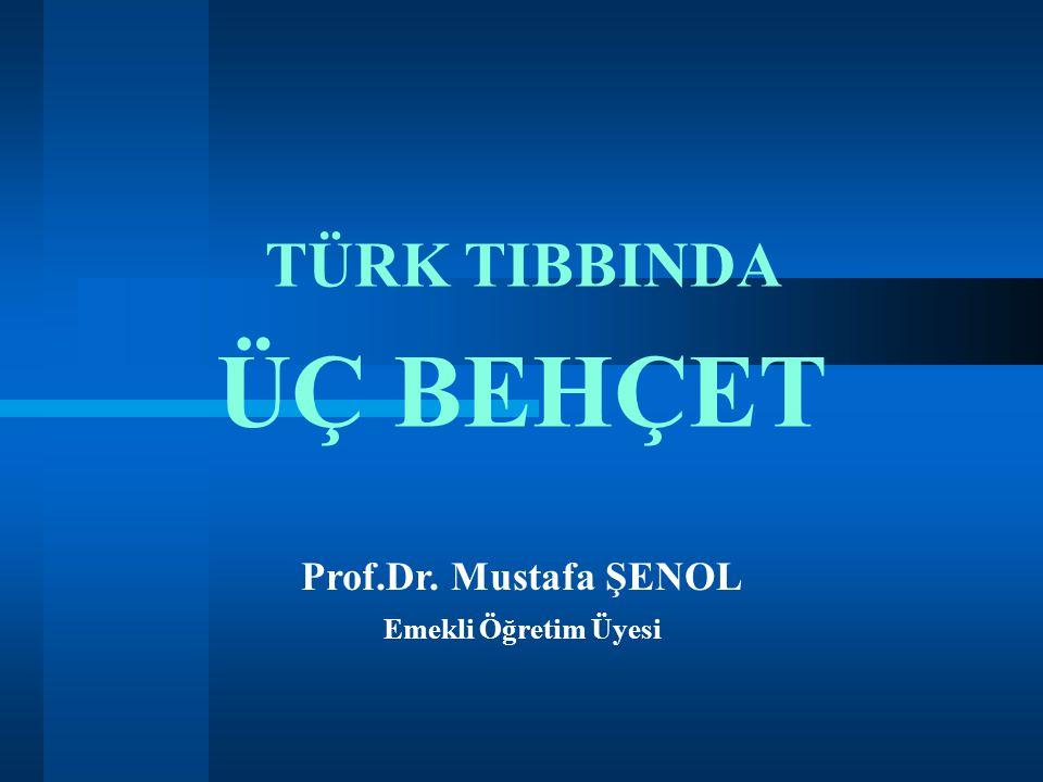 TÜRK TIBBINDA ÜÇ BEHÇET Prof.Dr. Mustafa ŞENOL Emekli Öğretim Üyesi 1