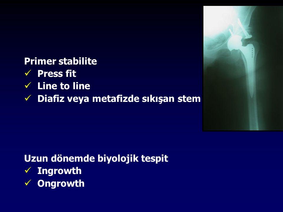 Primer stabilite Press fit. Line to line. Diafiz veya metafizde sıkışan stem. Uzun dönemde biyolojik tespit.