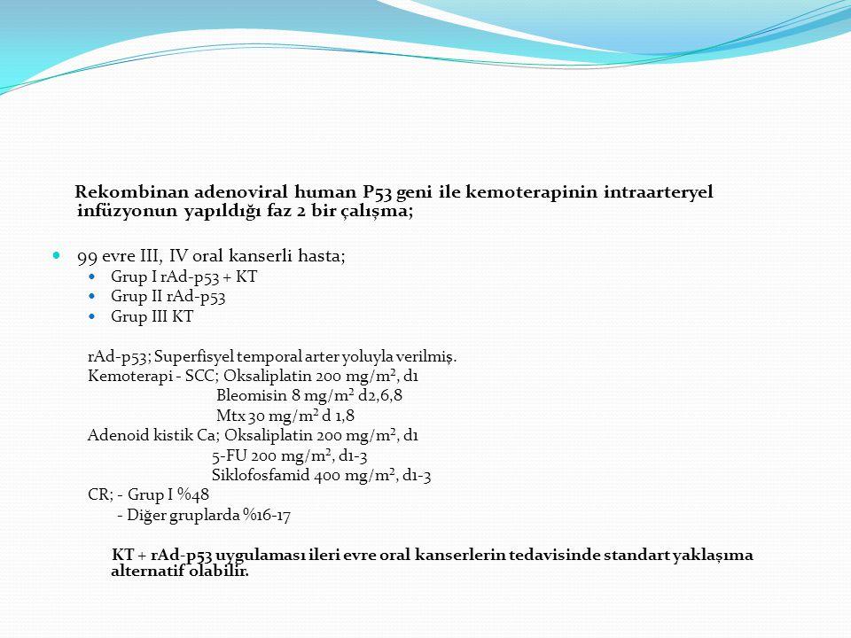 99 evre III, IV oral kanserli hasta;
