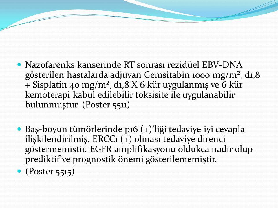 Nazofarenks kanserinde RT sonrası rezidüel EBV-DNA gösterilen hastalarda adjuvan Gemsitabin 1000 mg/m², d1,8 + Sisplatin 40 mg/m², d1,8 X 6 kür uygulanmış ve 6 kür kemoterapi kabul edilebilir toksisite ile uygulanabilir bulunmuştur. (Poster 5511)
