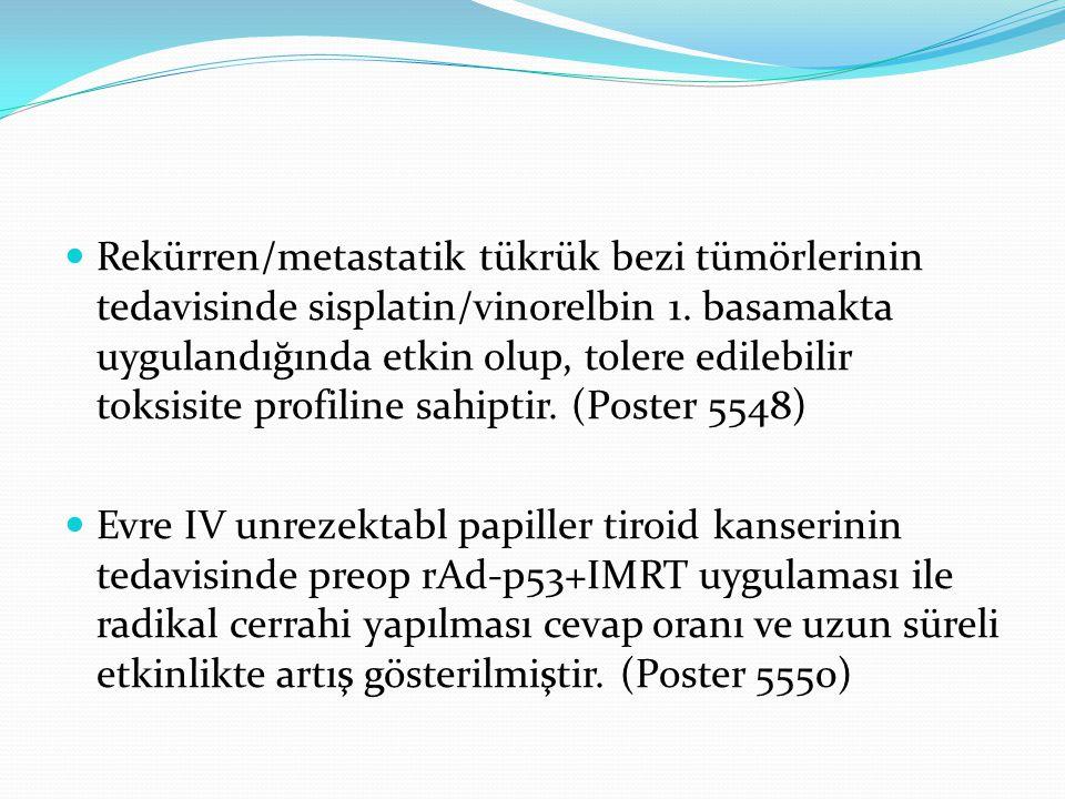 Rekürren/metastatik tükrük bezi tümörlerinin tedavisinde sisplatin/vinorelbin 1. basamakta uygulandığında etkin olup, tolere edilebilir toksisite profiline sahiptir. (Poster 5548)