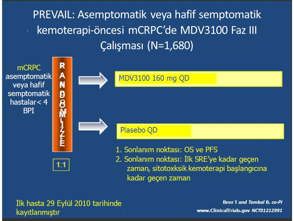 mCRPC asemptomatik veya hafif semptomatik hastalar< 4 BPI