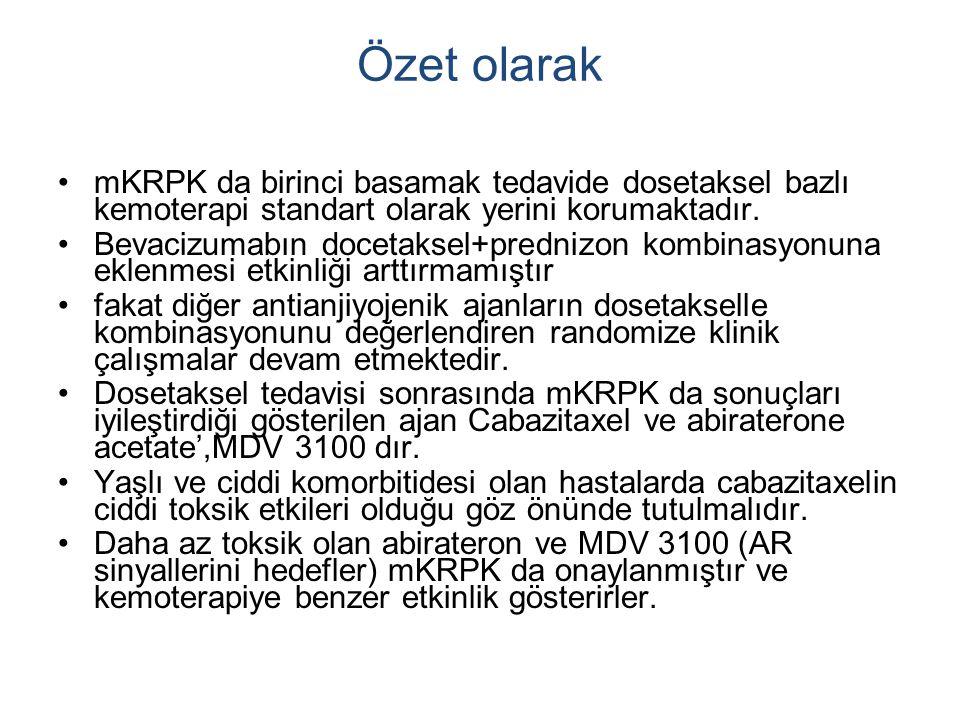 Özet olarak mKRPK da birinci basamak tedavide dosetaksel bazlı kemoterapi standart olarak yerini korumaktadır.