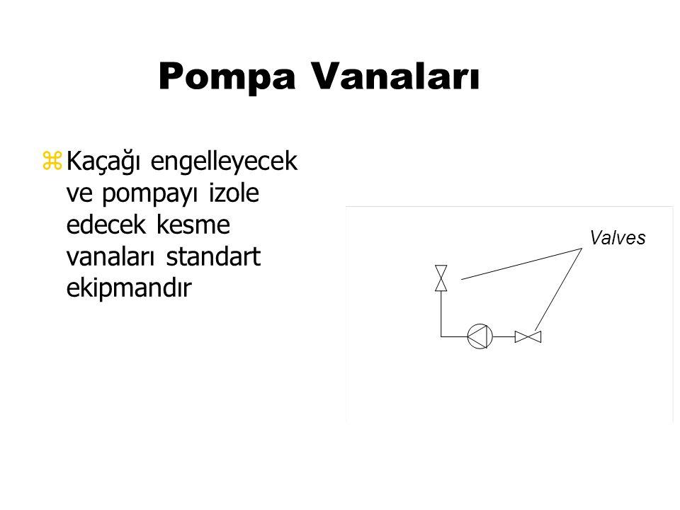 Pompa Vanaları Kaçağı engelleyecek ve pompayı izole edecek kesme vanaları standart ekipmandır. Valves.