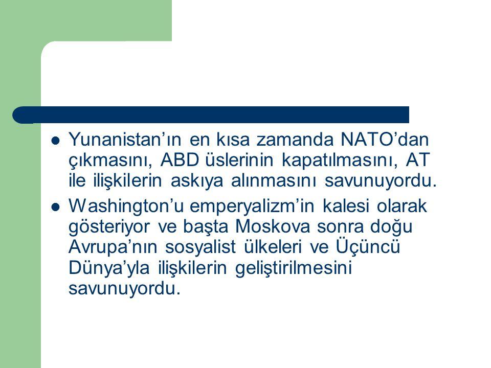 Yunanistan'ın en kısa zamanda NATO'dan çıkmasını, ABD üslerinin kapatılmasını, AT ile ilişkilerin askıya alınmasını savunuyordu.