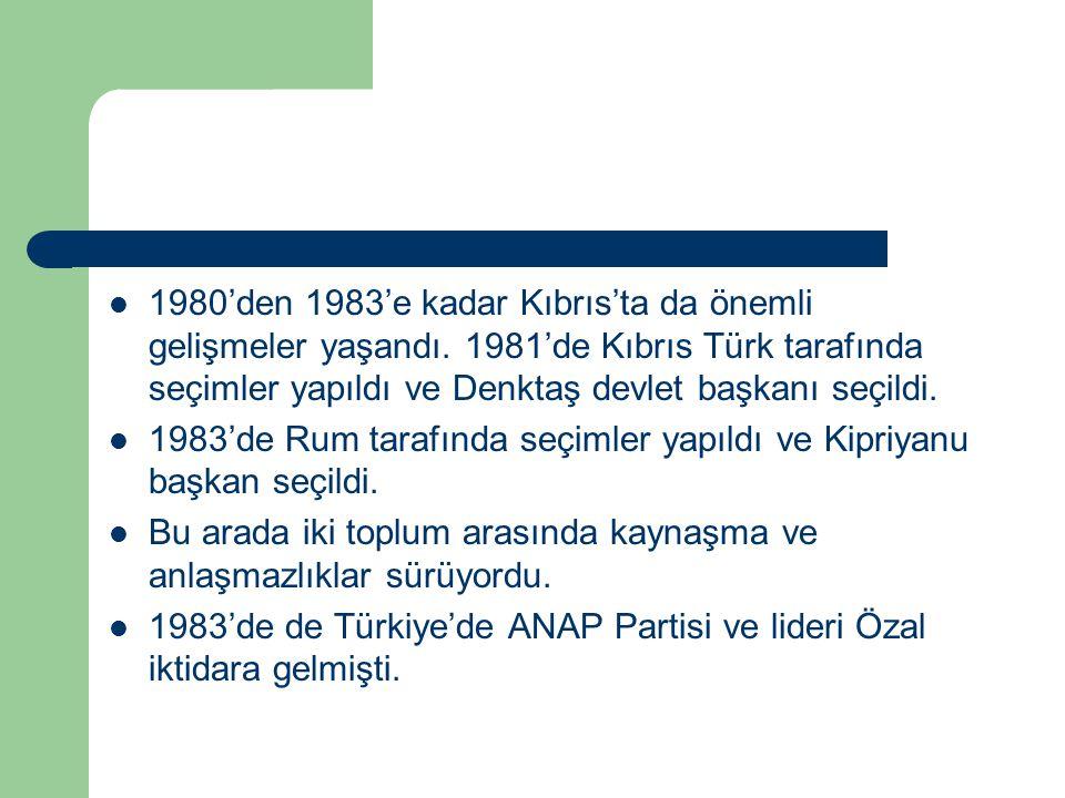 1980'den 1983'e kadar Kıbrıs'ta da önemli gelişmeler yaşandı