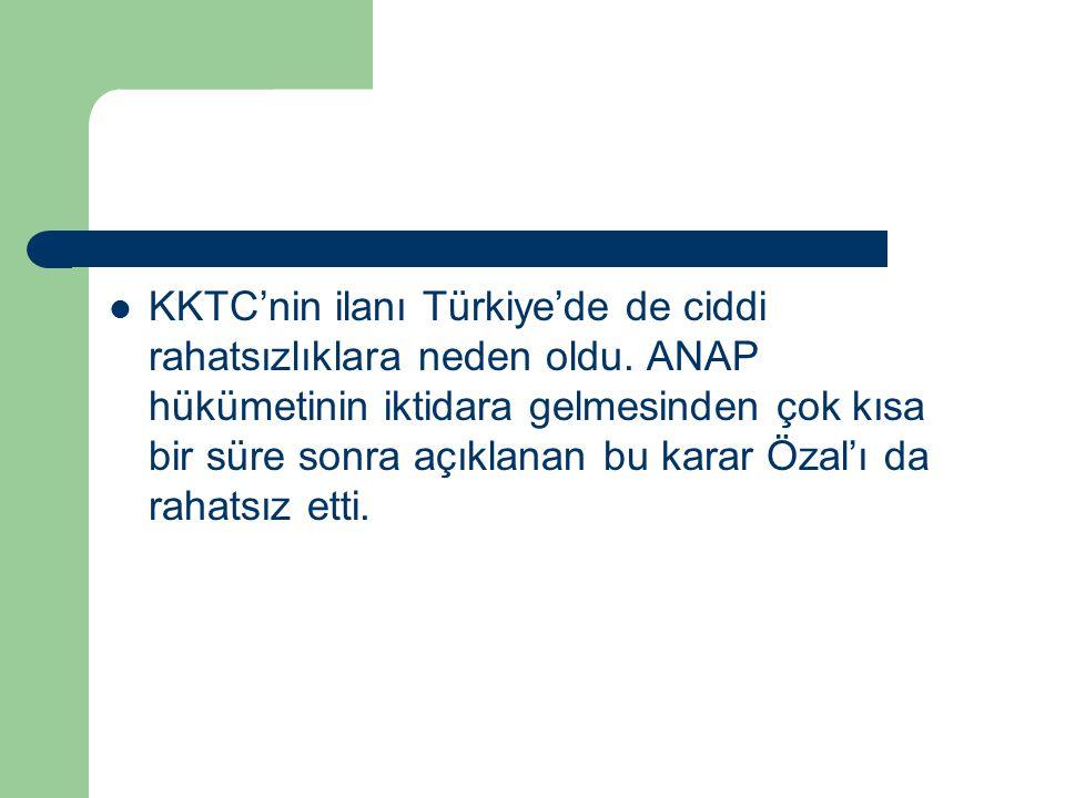 KKTC'nin ilanı Türkiye'de de ciddi rahatsızlıklara neden oldu