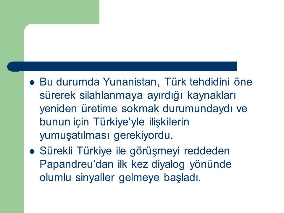 Bu durumda Yunanistan, Türk tehdidini öne sürerek silahlanmaya ayırdığı kaynakları yeniden üretime sokmak durumundaydı ve bunun için Türkiye'yle ilişkilerin yumuşatılması gerekiyordu.