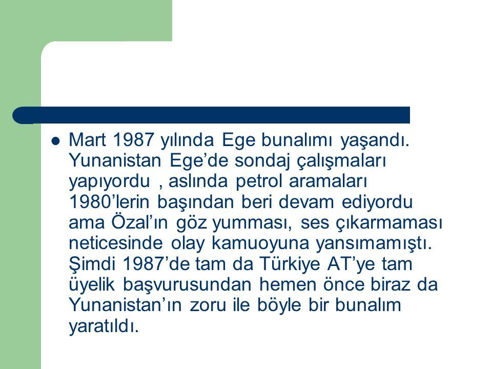 Mart 1987 yılında Ege bunalımı yaşandı