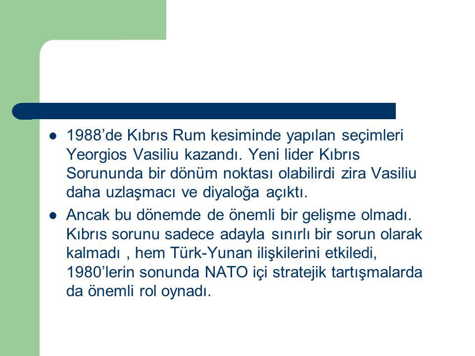 1988'de Kıbrıs Rum kesiminde yapılan seçimleri Yeorgios Vasiliu kazandı. Yeni lider Kıbrıs Sorununda bir dönüm noktası olabilirdi zira Vasiliu daha uzlaşmacı ve diyaloğa açıktı.