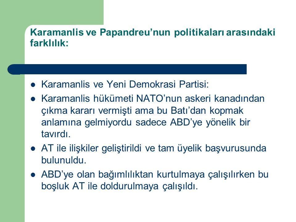 Karamanlis ve Papandreu'nun politikaları arasındaki farklılık:
