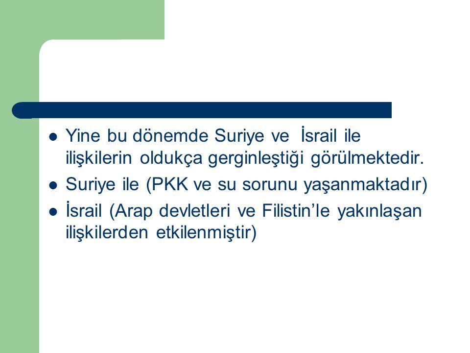 Yine bu dönemde Suriye ve İsrail ile ilişkilerin oldukça gerginleştiği görülmektedir.