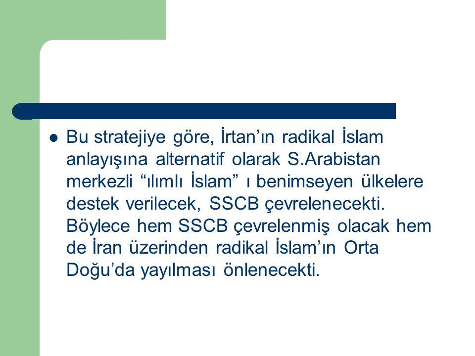 Bu stratejiye göre, İrtan'ın radikal İslam anlayışına alternatif olarak S.Arabistan merkezli ılımlı İslam ı benimseyen ülkelere destek verilecek, SSCB çevrelenecekti.