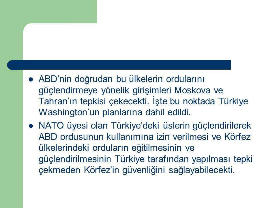 ABD'nin doğrudan bu ülkelerin ordularını güçlendirmeye yönelik girişimleri Moskova ve Tahran'ın tepkisi çekecekti. İşte bu noktada Türkiye Washington'un planlarına dahil edildi.