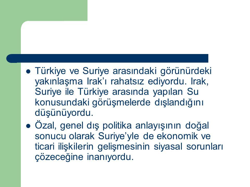 Türkiye ve Suriye arasındaki görünürdeki yakınlaşma Irak'ı rahatsız ediyordu. Irak, Suriye ile Türkiye arasında yapılan Su konusundaki görüşmelerde dışlandığını düşünüyordu.