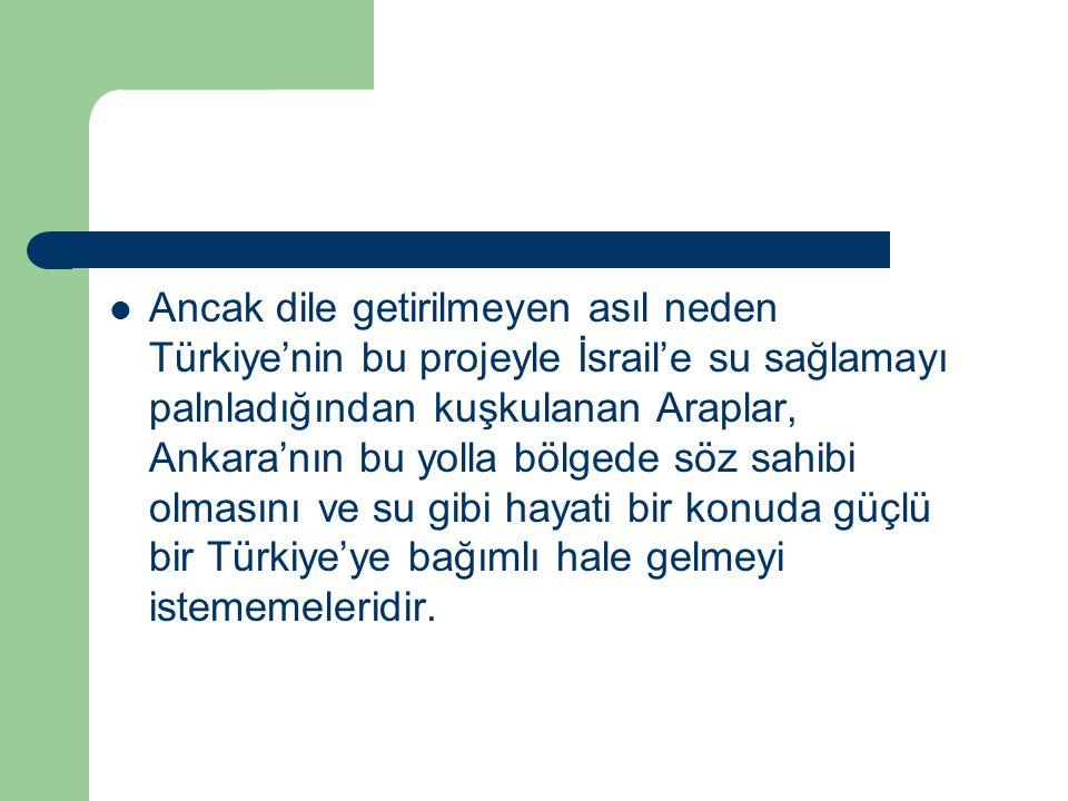 Ancak dile getirilmeyen asıl neden Türkiye'nin bu projeyle İsrail'e su sağlamayı palnladığından kuşkulanan Araplar, Ankara'nın bu yolla bölgede söz sahibi olmasını ve su gibi hayati bir konuda güçlü bir Türkiye'ye bağımlı hale gelmeyi istememeleridir.