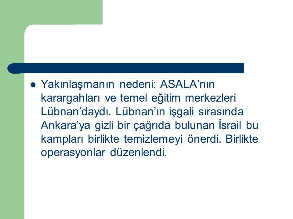 Yakınlaşmanın nedeni: ASALA'nın karargahları ve temel eğitim merkezleri Lübnan'daydı.
