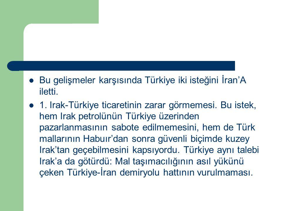 Bu gelişmeler karşısında Türkiye iki isteğini İran'A iletti.