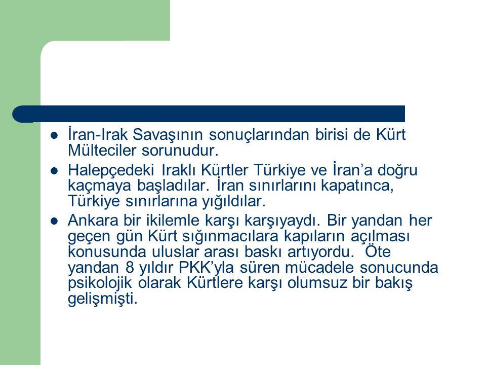 İran-Irak Savaşının sonuçlarından birisi de Kürt Mülteciler sorunudur.