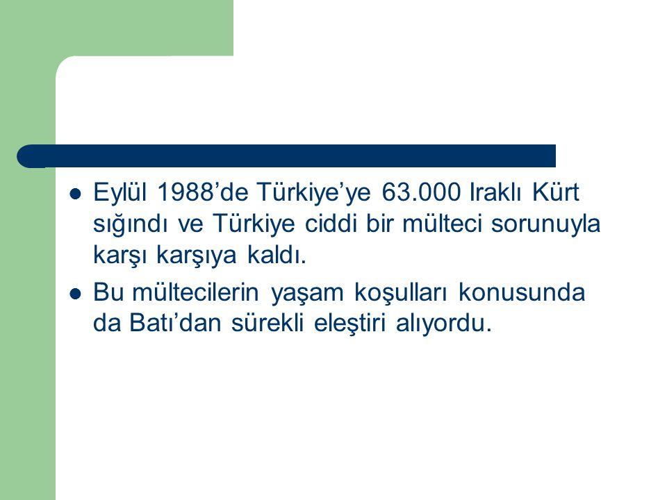 Eylül 1988'de Türkiye'ye 63.000 Iraklı Kürt sığındı ve Türkiye ciddi bir mülteci sorunuyla karşı karşıya kaldı.