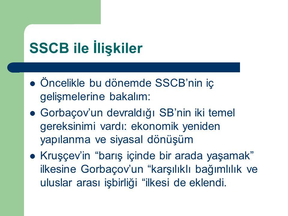 SSCB ile İlişkiler Öncelikle bu dönemde SSCB'nin iç gelişmelerine bakalım: