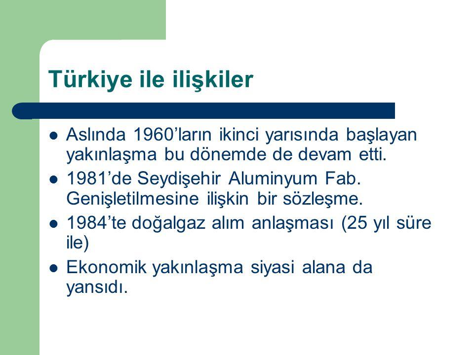 Türkiye ile ilişkiler Aslında 1960'ların ikinci yarısında başlayan yakınlaşma bu dönemde de devam etti.