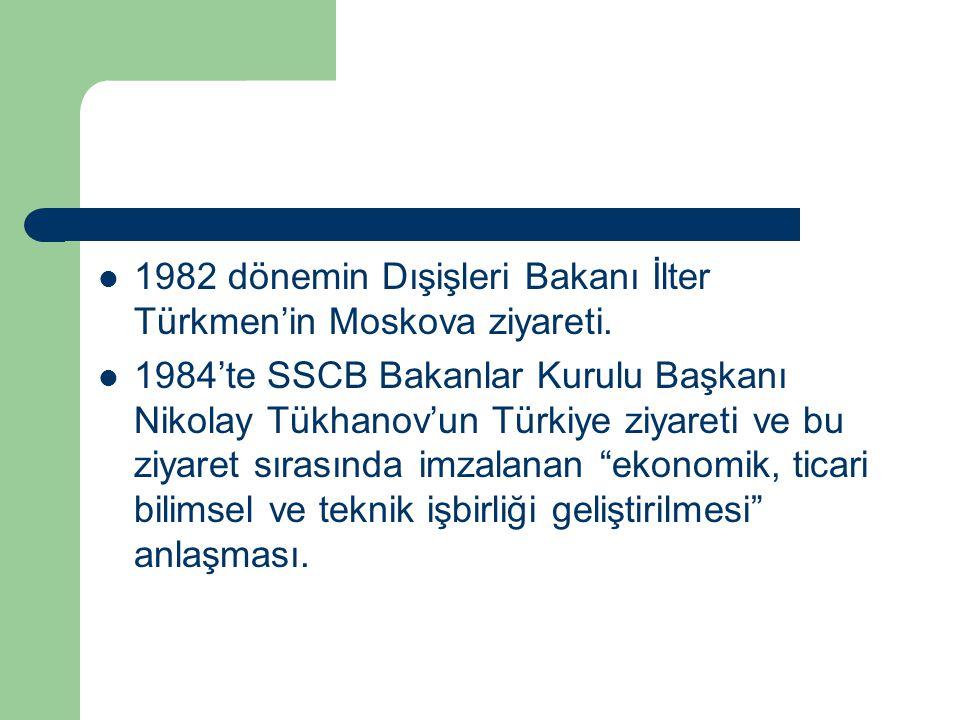 1982 dönemin Dışişleri Bakanı İlter Türkmen'in Moskova ziyareti.