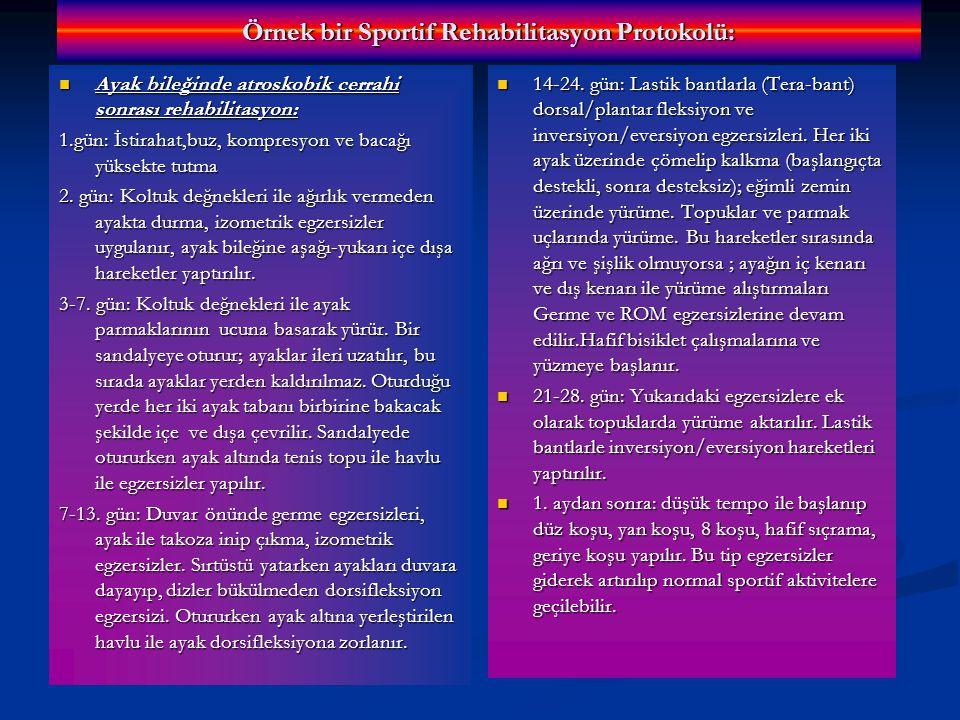 Örnek bir Sportif Rehabilitasyon Protokolü: