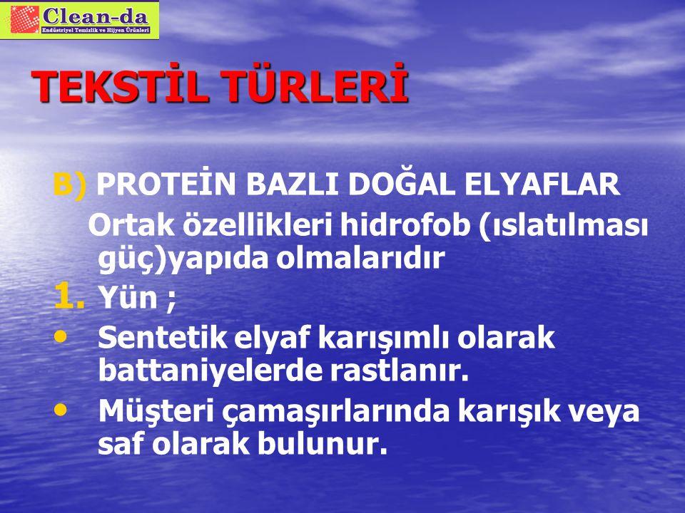 TEKSTİL TÜRLERİ B) PROTEİN BAZLI DOĞAL ELYAFLAR