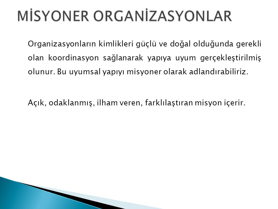 MİSYONER ORGANİZASYONLAR