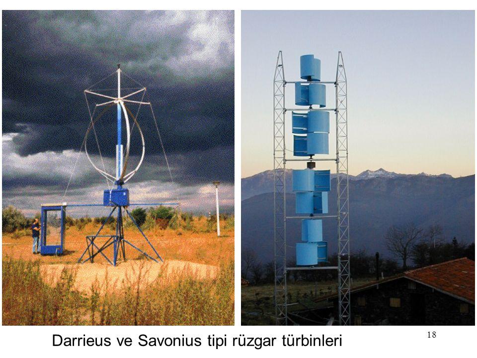 Darrieus ve Savonius tipi rüzgar türbinleri