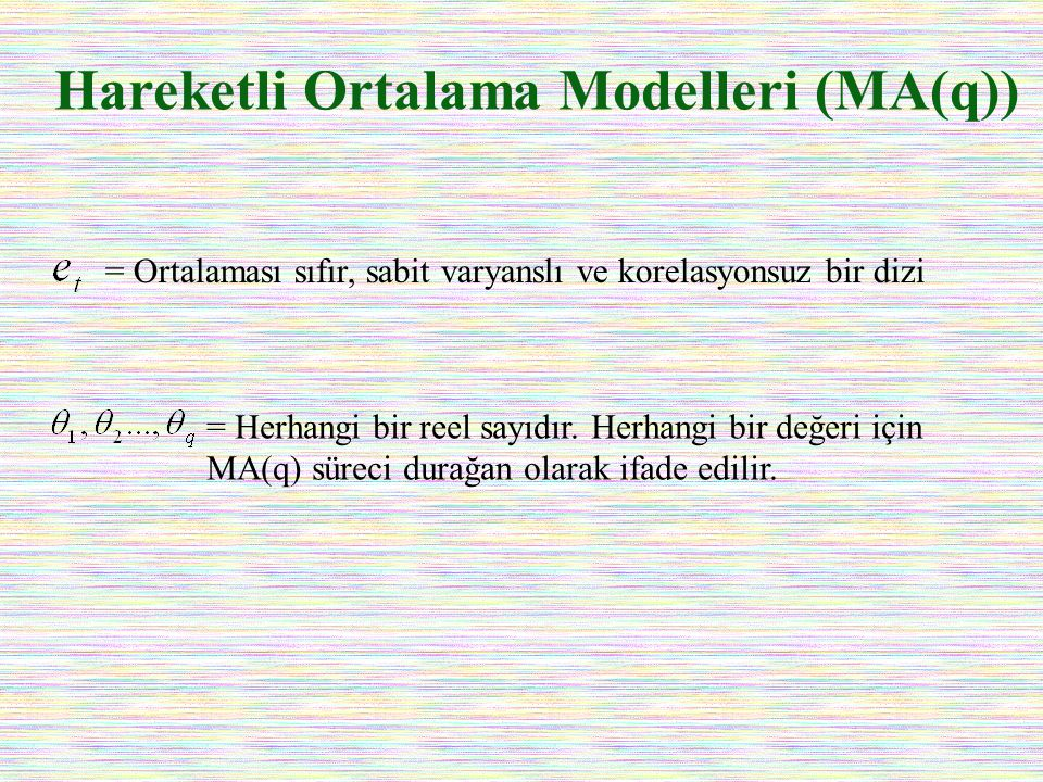 Hareketli Ortalama Modelleri (MA(q))