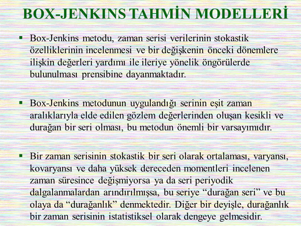 BOX-JENKINS TAHMİN MODELLERİ