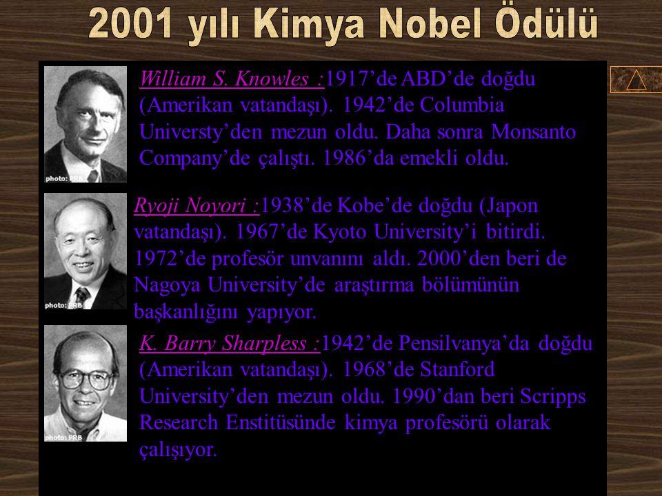 2001 yılı Kimya Nobel Ödülü
