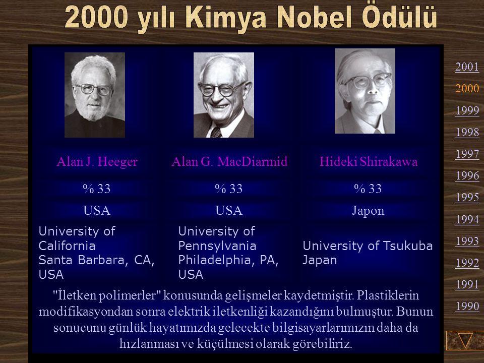2000 yılı Kimya Nobel Ödülü Alan J. Heeger Alan G. MacDiarmid