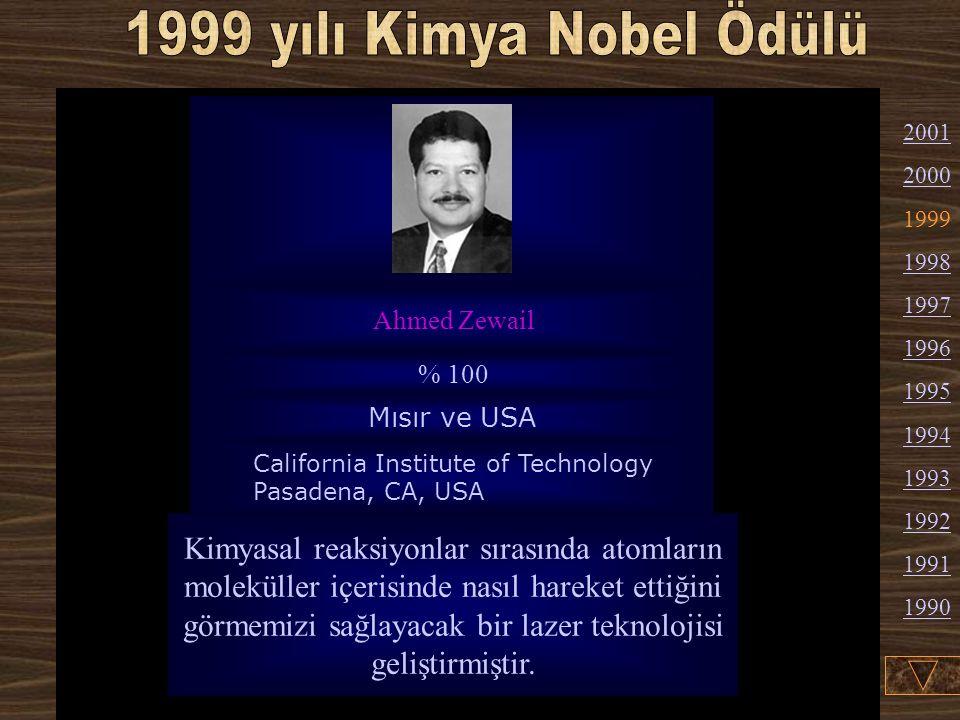 1999 yılı Kimya Nobel Ödülü Ahmed Zewail. % 100. Mısır ve USA. California Institute of Technology Pasadena, CA, USA.