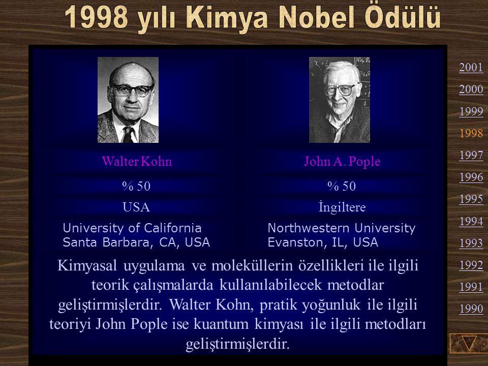1998 yılı Kimya Nobel Ödülü Walter Kohn. John A. Pople. % 50. USA. İngiltere. University of California Santa Barbara, CA, USA.
