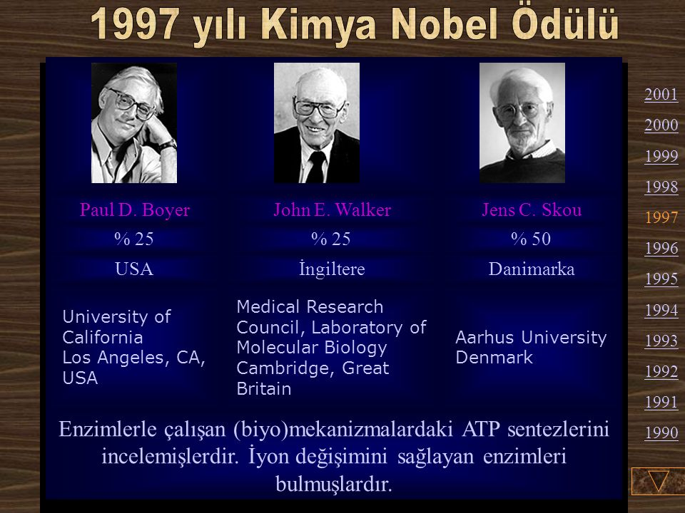 1997 yılı Kimya Nobel Ödülü Paul D. Boyer. John E. Walker. Jens C. Skou. % 25. % 50. USA. İngiltere.