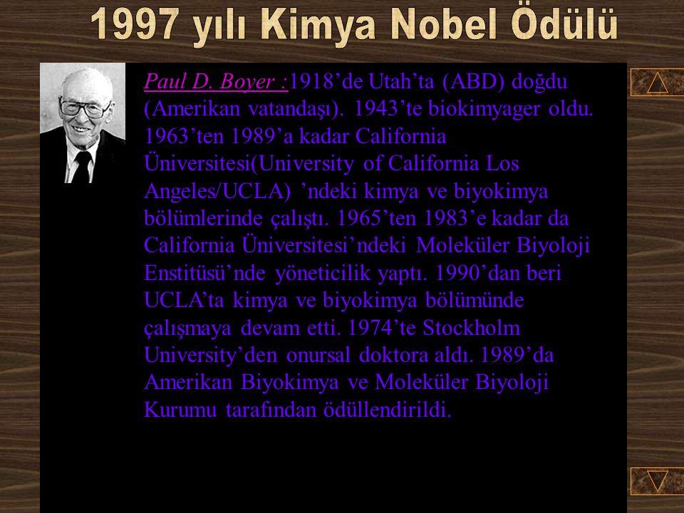 1997 yılı Kimya Nobel Ödülü
