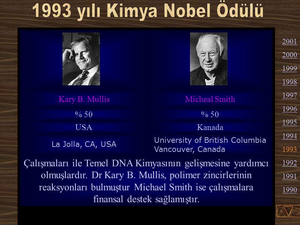 1993 yılı Kimya Nobel Ödülü Kary B. Mullis. Micheal Smith. % 50. USA. Kanada. La Jolla, CA, USA.
